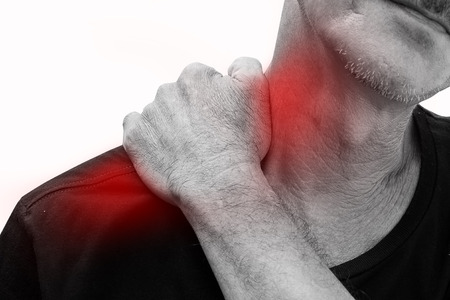 pinched: Old man has pain in right neck