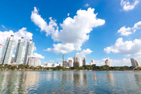 BANGKOK THAILAND - November, 12 2016 : Cityscape view of buildings at Benjakitti Park. Benjakitti Park is a city downtown. Editorial