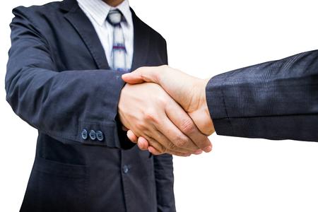 businees: The handshake businees on white background. Stock Photo