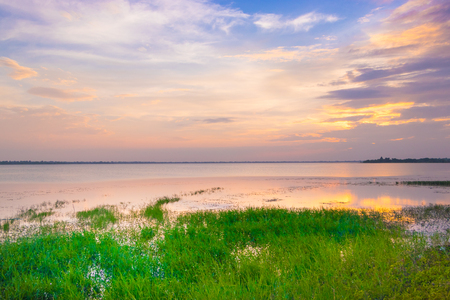 Beautiful landscape, Sunset over lake in thailand.