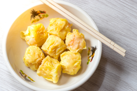 Close up  Siu Mai  Dim sum - Chinese steamed shrimp dumplings.