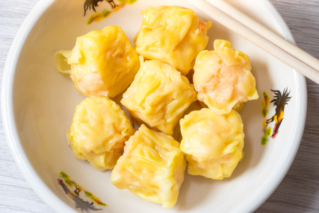 Close up Siu Mai / Dim sum - Chinese steamed shrimp dumplings.
