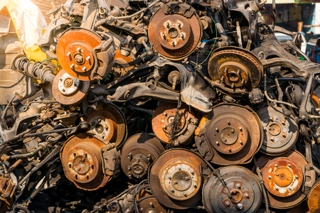 The old brake disk and detail of the wheel assembly Stock Photo