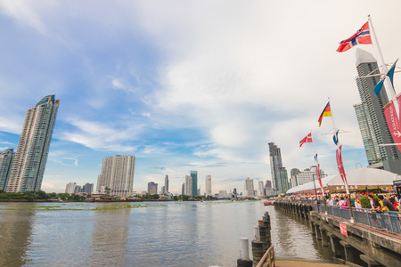 Thailand Bangkok, 5 May 2018 : The view landscape at chao phraya river.