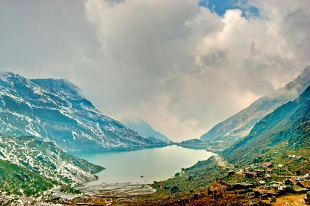 snow capped: Beautiful high dynamic range image of Changu lake in Sikkim and the surrounding vista