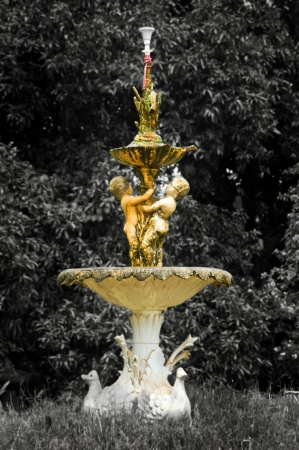 A Selectively colored antique statue photo