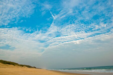 chilika: Tropical beach with dramatic sky and clouds in Chilika, India