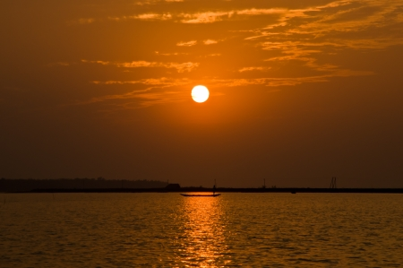 Sunset in Chilika, India  photo