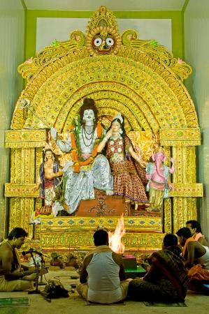 parvati: Durga Puja Festival in Kolkata Bengal, India  Editorial