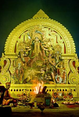 puja: Durga Puja Festival in Kolkata Bengal, India  Editorial