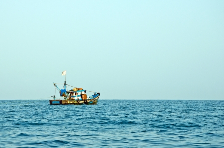 Tourists in fishing boats to see dolphins in Goa, India photo