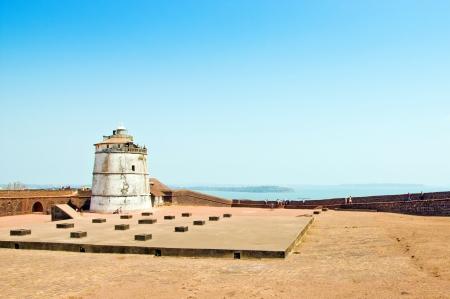 aguada: The lighthouse at Fort Aguada, Goa, India