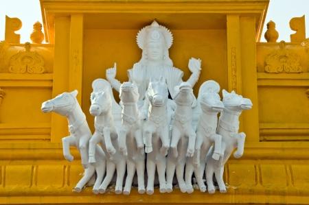 krishna: Chariot op de Arasavalli - De Zon Tempel in Srikakulam, AP, India