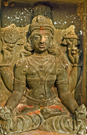 lord vishnu: Rock Carved Statue of Lord Vishnu at Srikurmam Temple, Srikakulam, AP, India
