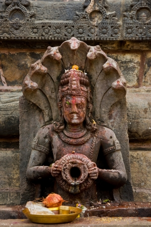 parvati: Rock Carved Statue of Lord Vishnu at srimukhalingam Temple, Srikakulam, AP, India Stock Photo