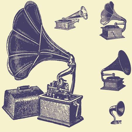 sets old vintage illustration Illustration