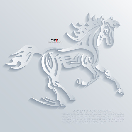 Horses Abstract 3D Design Background illustrations White Vector