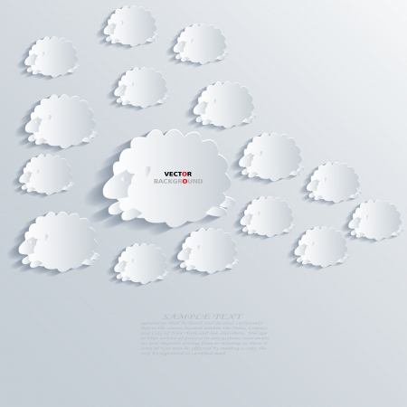 Sheep Abstract 3D Design Background illustrations White Vector