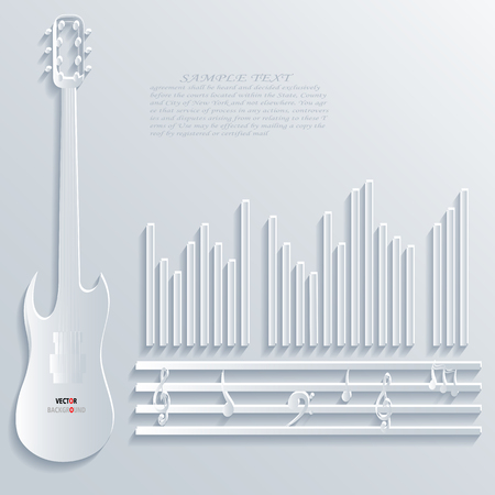 Music notes Abstract 3D Design Background illustrations White Vector
