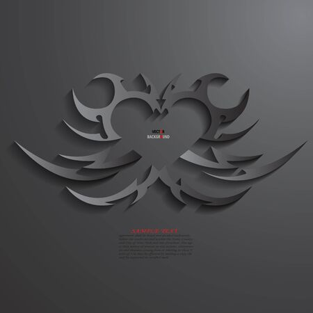 Heart Background Abstract 3D Design illustrations Black Vector