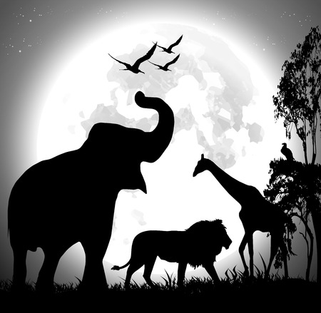 Animal safari vector over the full moon Vector