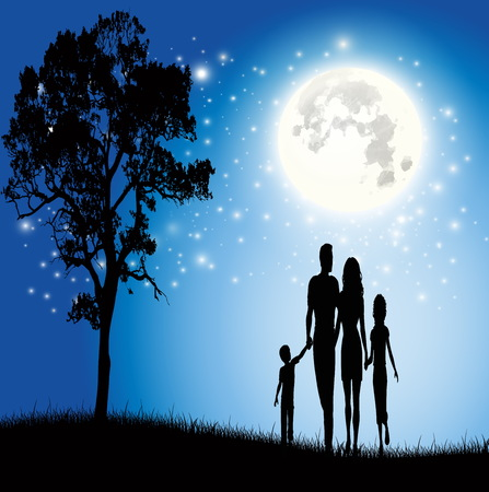 mather: Family with the beautiful moon vector