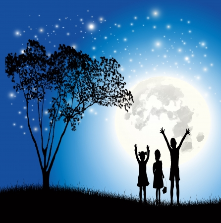 Children love the moon vector Vector
