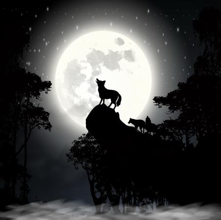 Silueta Del Lobo Aullando A La Luna Halloween Ilustración Vectorial