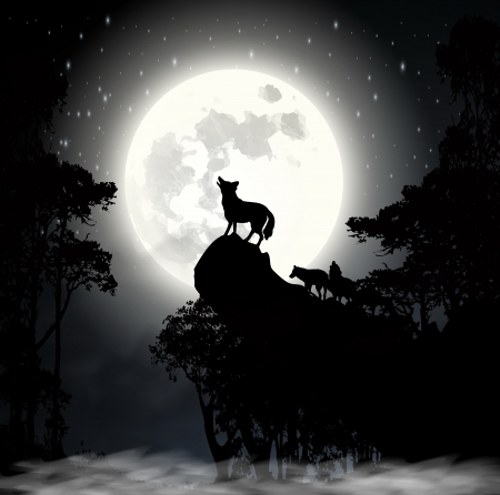 Wolf howling at the moon vector Vector