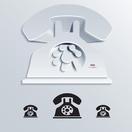 telephone icon: Icon Background Abstract 3D Design of Retro telephone icon vector Illustration