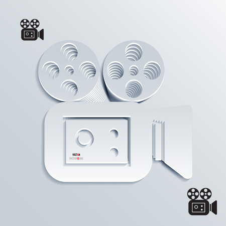 Icon Background Abstract 3D Design of movie camera Stock Vector - 22364455