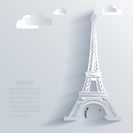 Background Abstract 3D Design of Eiffel tower vector