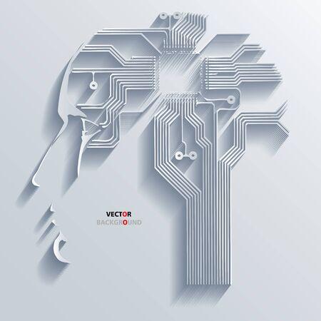 回路基板ベクトル頭の背景抽象的な 3 D デザイン