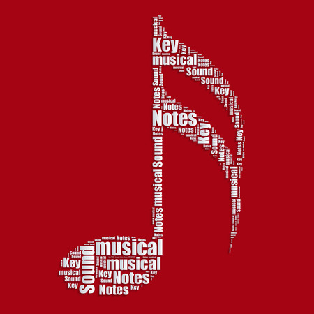 word collage: Music notes Word cloud typography text word  Illustration