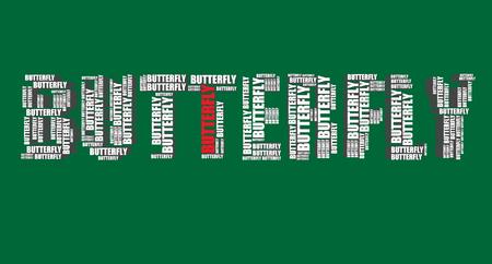 word art: mariposa de la tipograf�a 3d texto palabra mariposa del arte del ejemplo de nube de palabras
