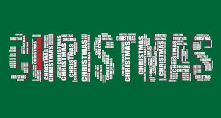 word art: christmas typography 3d text word art christmas illustration word cloud