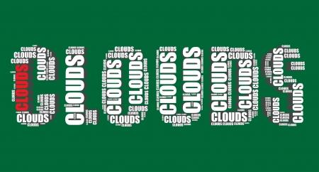 word art: nubes tipograf�a 3d texto word art ilustraci�n nubes nube de palabras