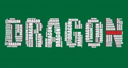 word art: drag�n tipograf�a texto 3d arte de la palabra drag�n ilustraci�n nube de palabras Vectores