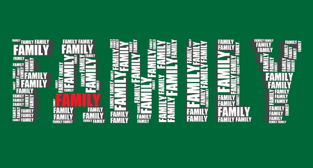 word art: family typography 3d text word art illustration family word cloud