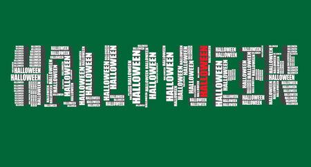 word art: Halloween tipograf�a 3d texto de la palabra arte vectorial de halloween ilustraci�n nube de palabras Vectores