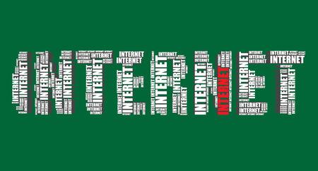 word art: internet typography 3d text word art vector illustration word cloud internet