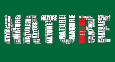 nature typography 3d text word art illustration nature word cloud Vector