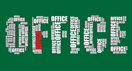 word art: office typography 3d text word art illustration word cloud office