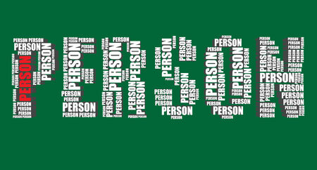 word art: person typography 3d text word art illustration word cloud person