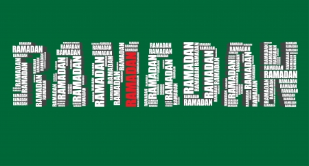 word art: ramadan typography 3d text word art illustration word cloud ramadan Illustration