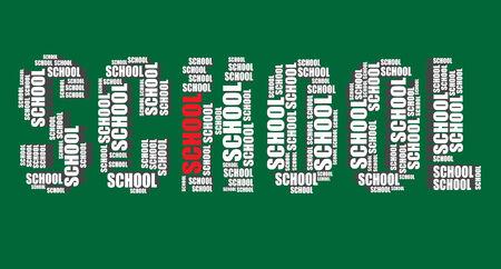 word art: school typography 3d text word art illustration word cloud school Illustration
