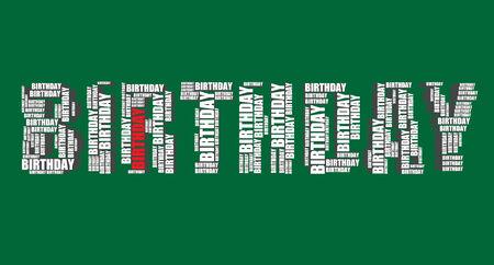 word art: birthday typography 3d text word art illustration birthday word cloud  Illustration