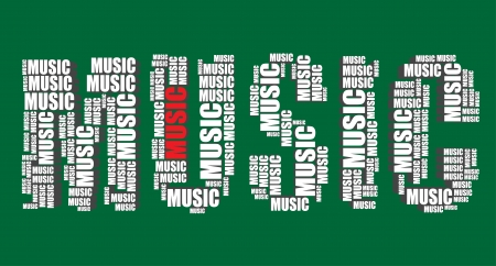 music typography 3d text word music art illustration word cloud  Vector