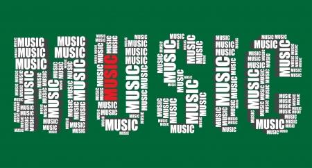 music art: music typography 3d text word music art illustration word cloud