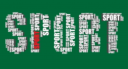 sports typography 3d text word sports art illustration word cloud  Vector